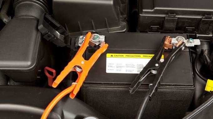 Charging Dead Car Battery With Battery Charger