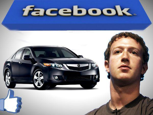 CEO of Facebook using a Honda Acura