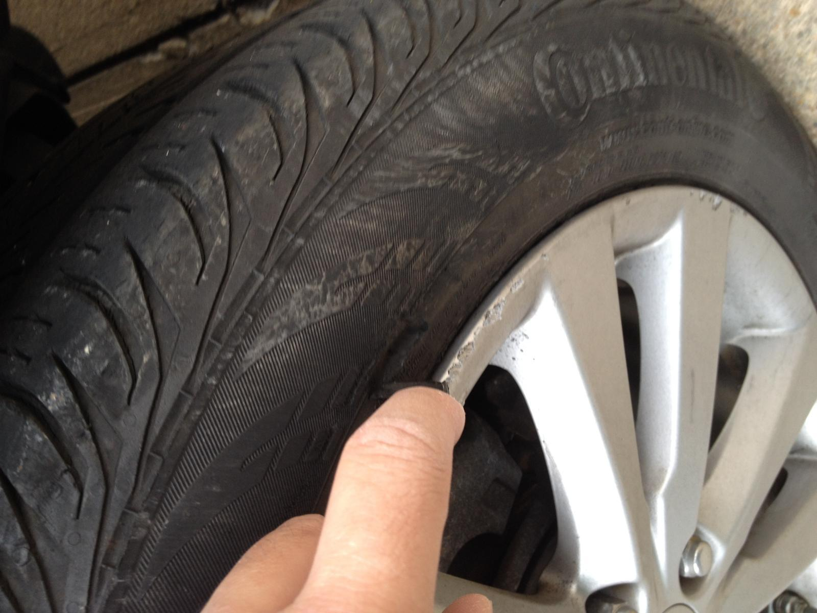 sidewall tire repair of a car
