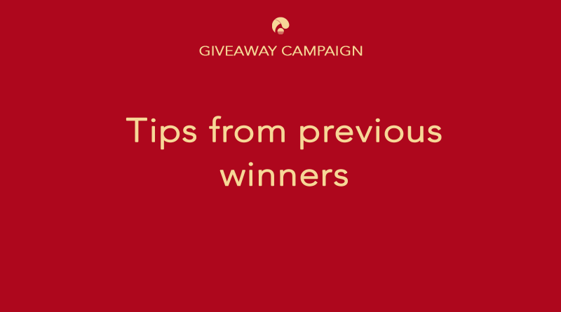 Tips from winners