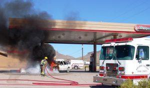 Burn up car gas station