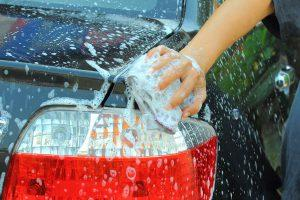 Car wash with gentle soap