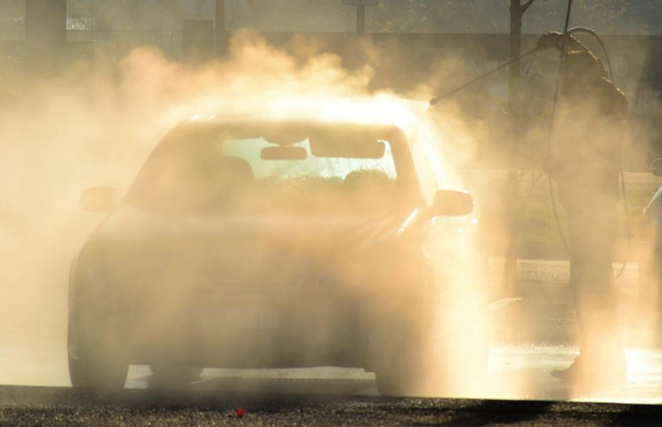 wash car with pressure washer