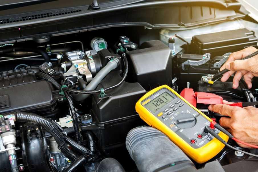 car battery test read multimeter