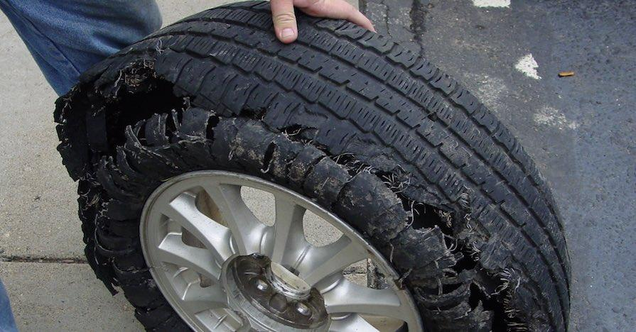 car tire tread separated