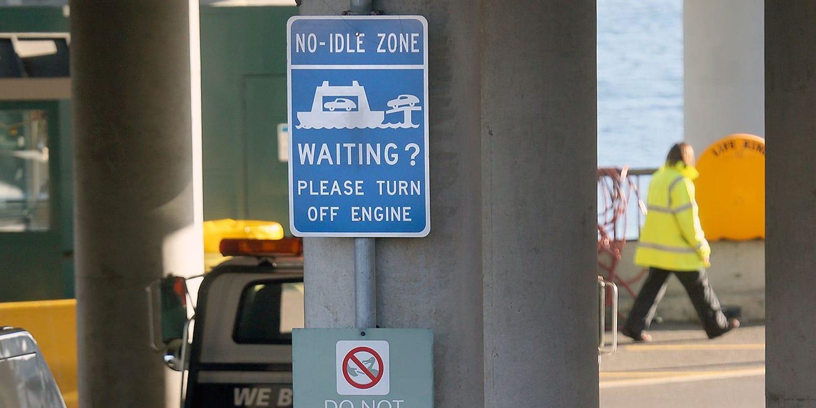 no idle road sign
